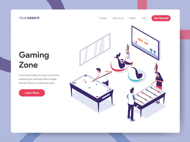 Gaming zone banner concept na stronie internetowej