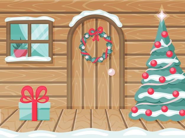 Ganek drewnianego domu. urządzone na nowy rok, boże narodzenie. prezent pod drzwiami. ilustracja wektorowa. styl kreskówki.