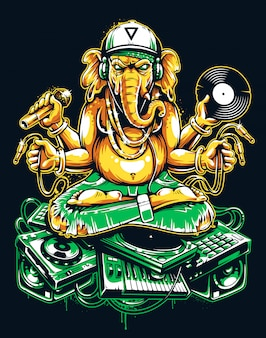 Ganesha dj siedzi na electronic musical stuff