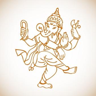 Ganesha Taniec Rysunek