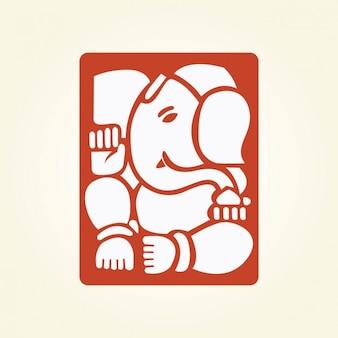 Ganesha wewnątrz kwadratu