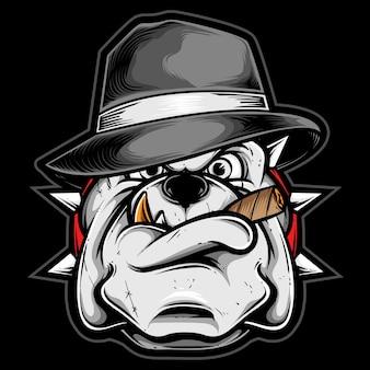 Gangster pitbull z kapeluszem fedora