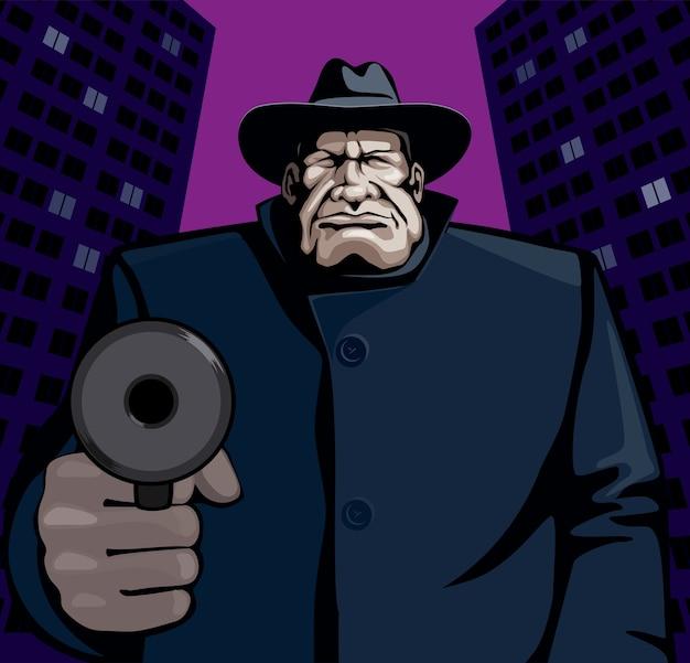 Gangster wskazujący pistolet