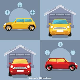 Garaż samochodów infografika