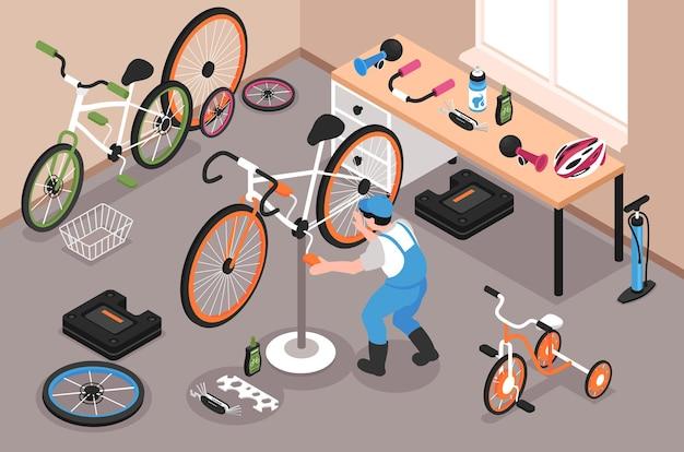 Garaż do naprawy rowerów z człowiekiem naprawiającym pedał rowerowy 3d izometryczna ilustracja