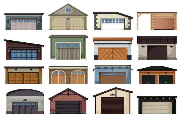 Garaż na białym tle kreskówka zestaw ikon. ikona kreskówka zestaw samochodów dom. garaż ilustracji