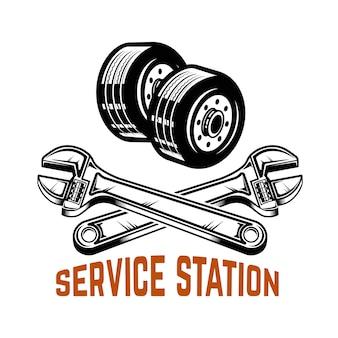 Garaż. stacja serwisowa. naprawa samochodów. element na logo, etykietę, godło, znak. ilustracja