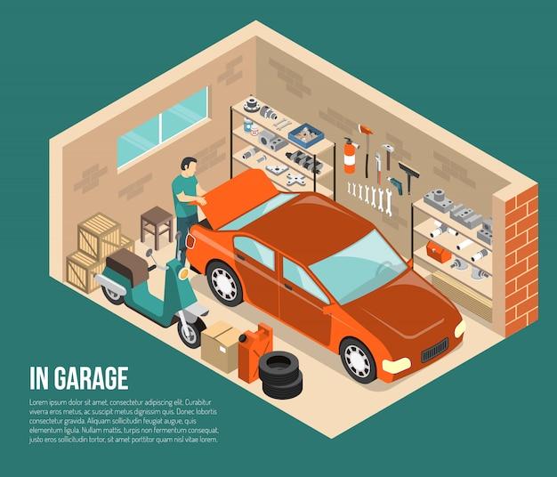 Garaż wewnątrz izometrycznej ilustracji