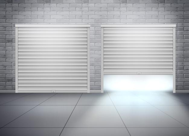 Garaż z dwoma wejściami w szarej ścianie z cegły. realistyczna kompozycja z otwieranymi drzwiami