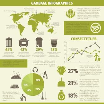 Garbage recycling elementów infograficznych zestaw ikon i wykresów ilustracji wektorowych