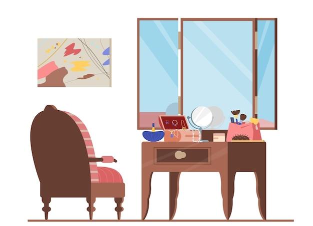 Garderoba wnętrza płaskie ilustracja. fotel i toaletka z kosmetyczką, lustrem, biżuterią, pędzlami do makijażu, perfumami. akcesoria kosmetyczne dla kobiet.