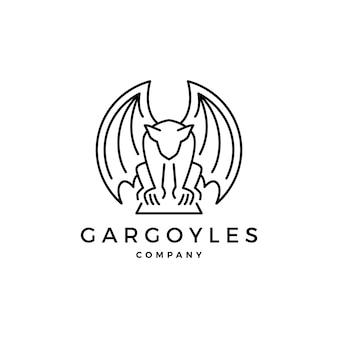 Gargoyles gargulec logo wektor zarys ilustracja
