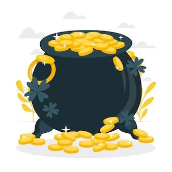 Garnek ilustracja koncepcja złota