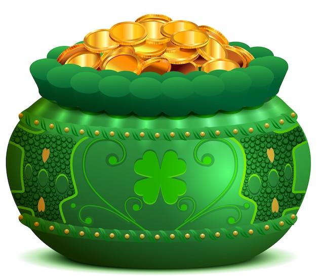 Garnek na dzień świętego patryka pełen złotych monet. ilustracja kreskówka wektor na białym tle