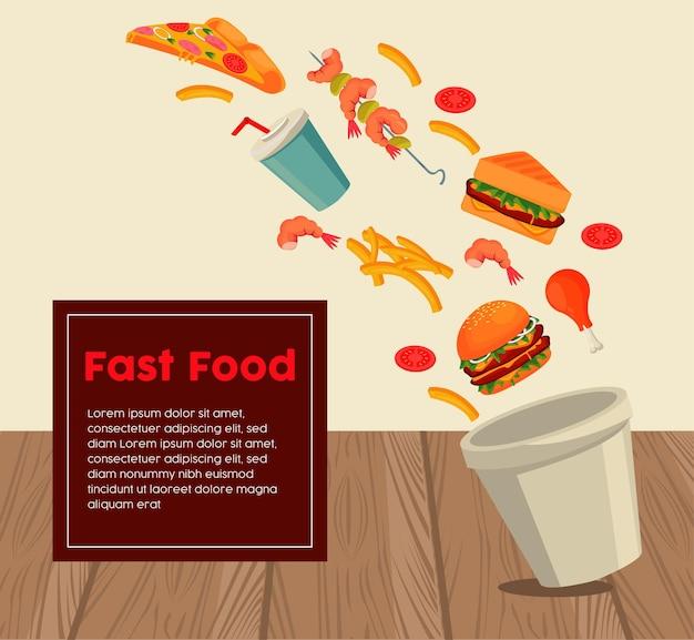 Garnek z pysznym fast foodem i napisem w kwadratowej ramce