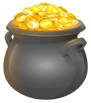 Garnek złotych monet. pełny kocioł ze złota