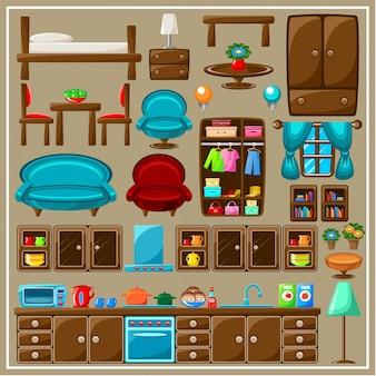 Garnitur mebli kuchennych.