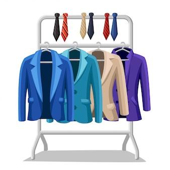 Garnitur męski marynarka cztery kurtki w różnych kolorach i typach niebiesko-zielony fiolet beżowe krawaty w różnych kolorach na wieszaku ilustracja na białym tle