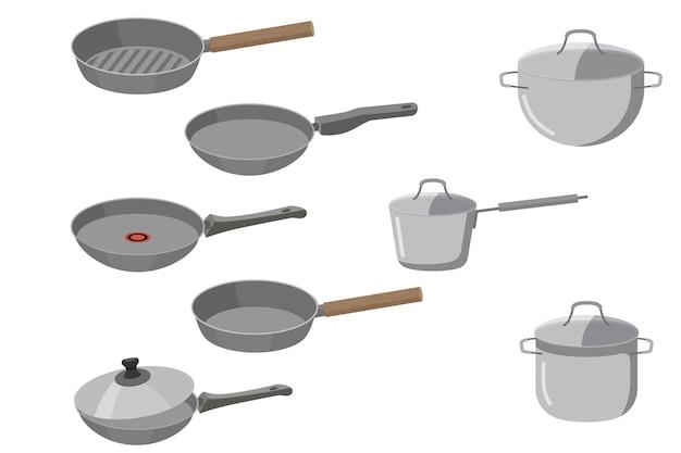 Garnki kuchenne i różne patelnie na białym tle. naczynia kuchenne, naczynia. duży zestaw.