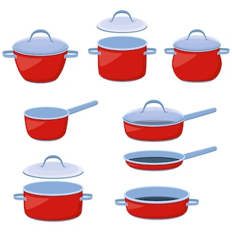 Garnki, rondle i patelnie. zestaw naczyń kuchennych do gotowania i smażenia, ilustracji wektorowych