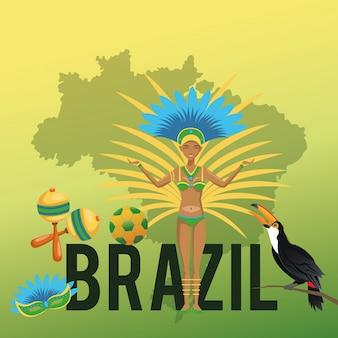 Garota cartoon i zestaw ikon. brazylia kultura ameryka