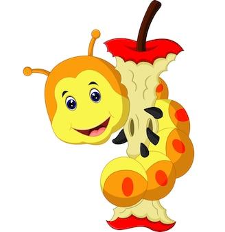 Gąsienica jedzenie kreskówka jabłko