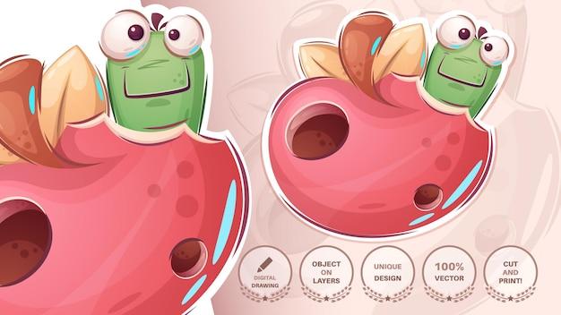 Gąsienica w jabłku - urocza naklejka