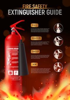 Gaśnica pionowa plakat z dużym wizerunkiem płomienia strażaka i edytowalny tekst z piktogramami ilustracyjnymi