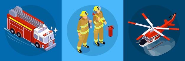 Gaśniczy poziomy baner składający się z trzech kwadratowych części z ilustracją ikon izometrycznych strażaków wozu strażackiego samolotu