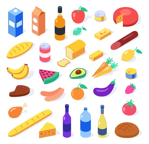 Gastronomia w stylu izometrycznym. jedzenie i napoje na białym tle