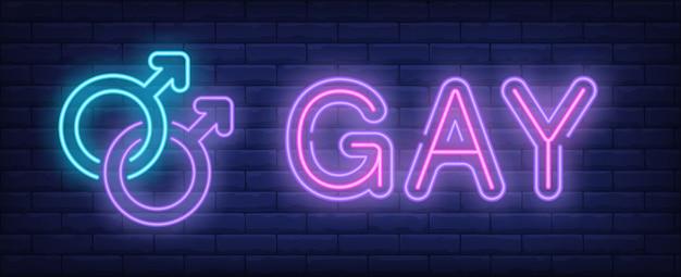 Gay neonowy tekst z dwoma połączonymi męskimi symbolami płci