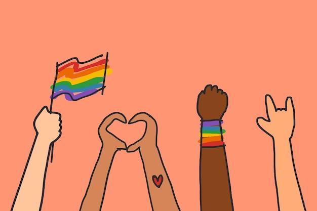 Gay pride doodle wektor ręcznie rysowane stylu
