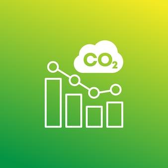 Gaz co2, ikona redukcji emisji dwutlenku węgla z wykresem