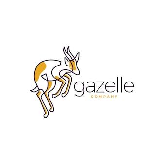 Gazela logo wektor ikona linii zarys sztuki