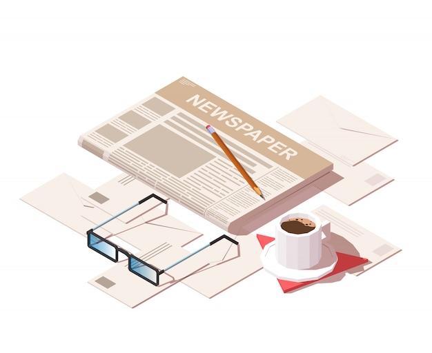 Gazeta codzienna, szklanki do czytania, ołówek, listy i poranna kawa.