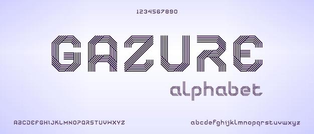 Gazure, abstrakcyjna, nowoczesna czcionka alfabetu z szablonem w stylu miejskim