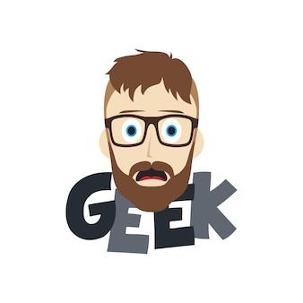 Geek kreskówka mężczyzna tematu ilustracji wektorowych