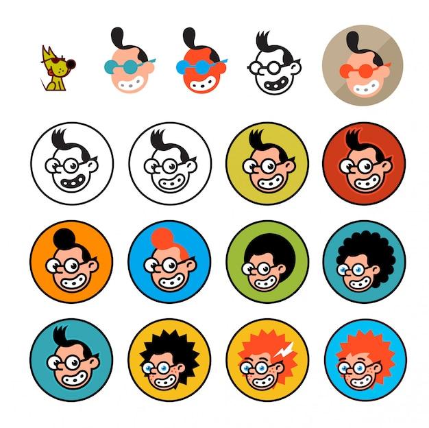 Geeków postaci z kreskówek w stylu płaskiej