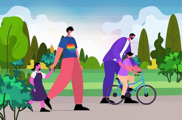 Geje rodzina spacery z małymi dziećmi w parku ojcostwo transpłciowa miłość koncepcja społeczności lgbt krajobraz tło poziome pełnej długości ilustracja wektorowa