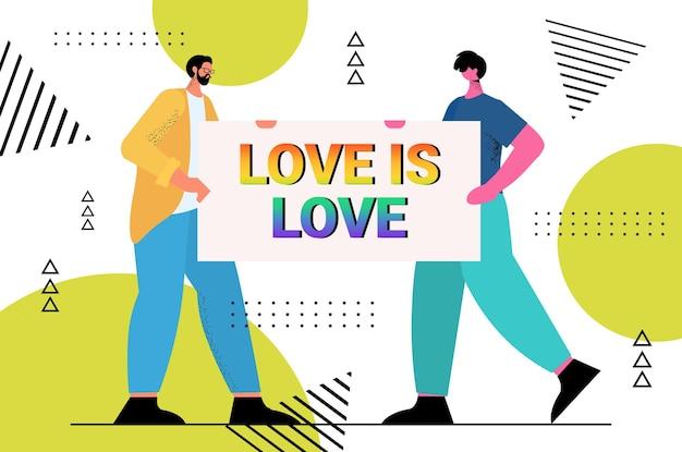 Geje trzymający afisz z tęczową miłością to tekst miłości lgbt parada duma festiwal transpłciowa koncepcja miłości pełnej długości poziomej ilustracji wektorowych