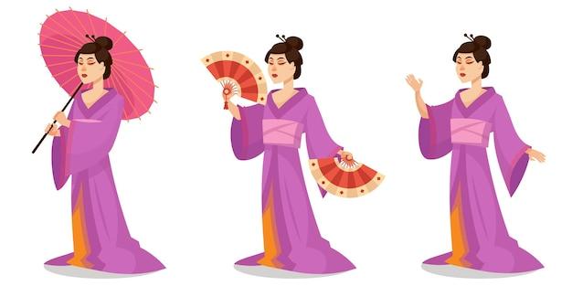 Gejsza w różnych pozach. kobieca postać japońska w stylu cartoon.