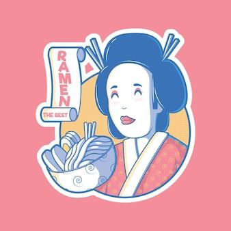 Gejsza z miską ramenu ilustracji. jedzenie, marka, tradycyjna koncepcja projektowania.