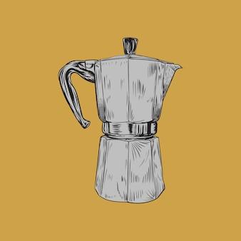 Gejzer ekspres do kawy ręcznie rysowane szkic ilustracji.