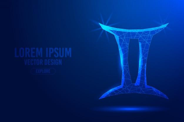 Gemini trzeci znak zodiaku streszczenie tło. liniowa i wielokątna koncepcja horoskopu 3d, konstelacja niebieska.