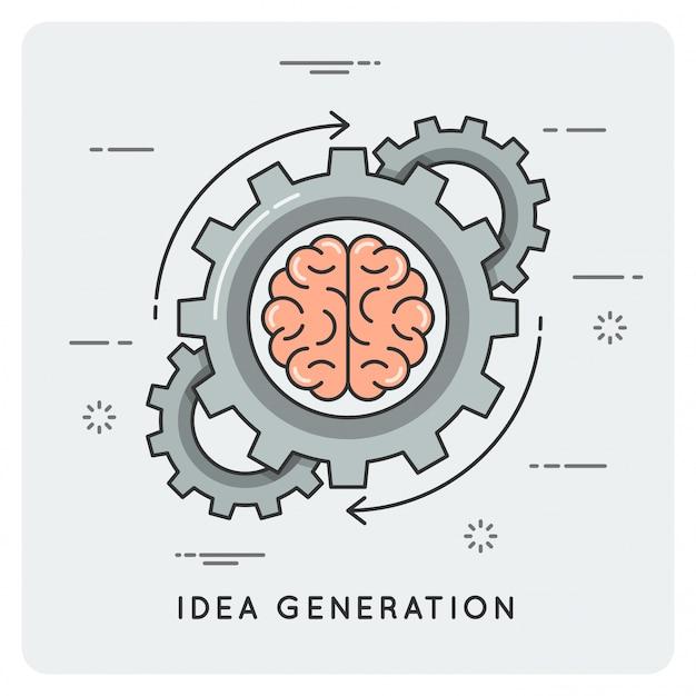 Generowanie pomysłów. liniowy płaski styl.