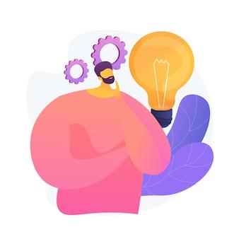 Generowanie pomysłów na biznes. planuj rozwój. zamyślony mężczyzna z postacią z kreskówki żarówka. techniczne nastawienie, przedsiębiorczy umysł, proces burzy mózgów. ilustracja wektorowa na białym tle koncepcja metafora