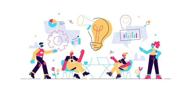 Generowanie pomysłów na biznes. strategie marketingowe, dyskusja o możliwościach inwestycyjnych. rozpocznij wprowadzanie na rynek, sukces biznesowy, koncepcja spotkania burzy mózgów. ilustracja koncepcja na białym tle