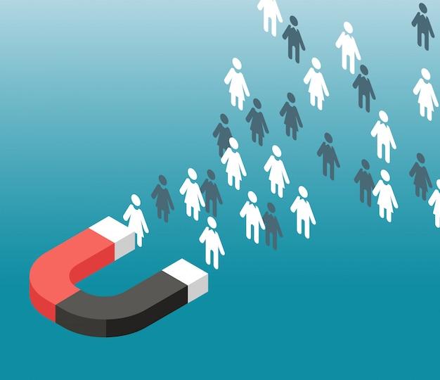 Generowanie potencjalnych klientów atrakcja ruchu sieciowego. magnes przyciąga ludzi. koncepcja marketingu przychodzącego wektor