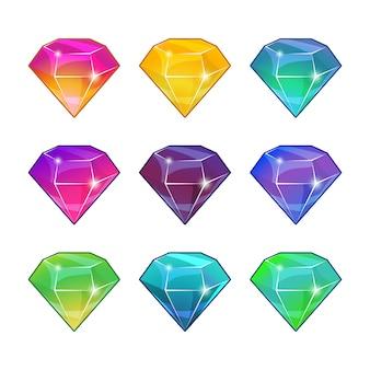 Genialne diamenty w różnych kolorach. wektor kreskówka zestaw do projektowania gier