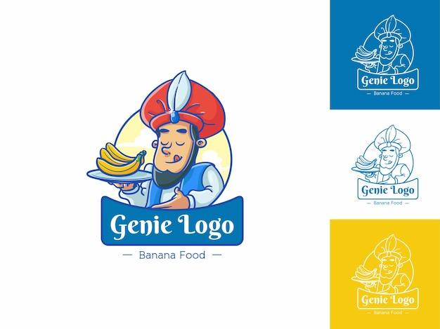 Genie banana food logo, koncepcja świeżych żółtych owoców na białym tle, płaski kontur kreskówka